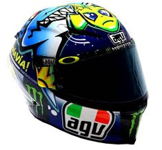 This is the AGV Corsa Valentino Rossi Shark helmet that Rossi wore for the 2015 Misano MotoGP, now availabe to buy as a Valentino Rossi replica helmet. Shark Helmets, Agv Helmets, Racing Helmets, Motorcycle Gear, Motorcycle Helmets, Valentino Rossi Helmet, Valentino Rossi 46, Vr46, Helmet Design