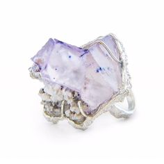 Statement Ring - KAPOW! Sterling silver with Fluorite on Sphalerite #jewellery #jewelry #ring #statementring #silver #gemstones #fluorite #crystaljewelry #madeinmelbourne #handmade #contemporaryjewellery #lizzieslatteryjewellery