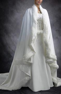 Fur Trimmed Long Satin Cloak - Outerdress.com
