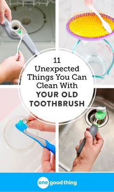 Don't throw out your old toothbrush when it's ready to be retired! An old toothbrush makes a useful cleaning tool, especially for these 11 things. ~ One Good Thing Deep Cleaning Tips, Cleaning Solutions, Cleaning Hacks, Cleaning Checklist, Cleaning Products, Homemade Toilet Cleaner, Clean Baking Pans, Cleaning Painted Walls, Glass Cooktop