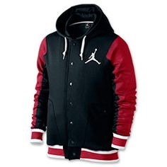 Men's Jordan Varsity 2.0 Hoodie| FinishLine.com | Black/Gym Red/White