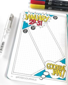Check out these awesome comic-inspired bullet journals! Check out these awesome comic-inspired bullet journals! Bullet Journal 2020, Bullet Journal Themes, Bullet Journal Spread, Bullet Journal Layout, My Journal, Bullet Journal Inspiration, Journal Ideas, Heroes Bowie, Love Story Comic