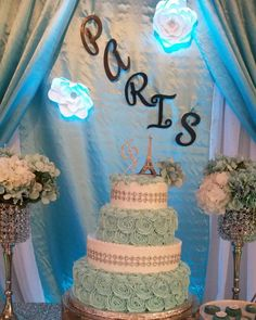 The birthday cake at this Paris sweet fifteen Quinceanera Birthday Party is so beautiful!! See more party ideas and share yours at CatchMyParty.com
