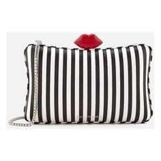 Lulu Guinness Women's Lavinia Stripe Leather Clutch Bag - Black/Chalk ($340) ❤ liked on Polyvore featuring bags, handbags, clutches, leather handbags, stripe handbag, leather clutches, 100 leather handbags and real leather handbags