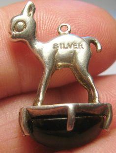 Vintage Sterling Silver DEER ON CAT'S EYE BASE FOB 3/D Bracelet Charm  6.0g