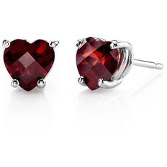 Augustine Jewels Heart Shaped Garnet Stud Earrings (185 AUD) ❤ liked on Polyvore featuring jewelry, earrings, silver, garnet jewellery, garnet earrings, heart jewelry, garnet jewelry and stud earring set