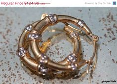 Valentine Sale Vintage 1970's 14k Yellow and White Gold 3/4 inch Hoop Pierced Earrings