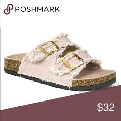 Dusty Pink Flat Birk Sandals Super cute distressed look dusty Mauve flat Birk sandals. Featuring buckles. Threads & Trends Shoes Sandals