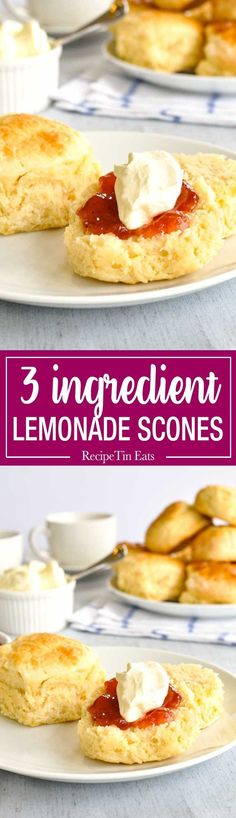 Lemonade Scones - Moist, fluffy scones from scratch, made with just flour, cream and lemonade. These are a miracle! www.recipetineats.com #YummyFiremen