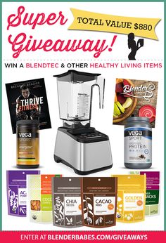 In a few easy steps you will be entered in a drawing to win Healthy Living Prizes from Blender Babes, Blendtec, Vega and Navitas Naturals that have a combined value of  $880!