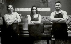 "our Brigade de Cuisine, from left to right : Edo - pdkt Nindita - pdkt Sandiyuda - jomblo Feel free to say ""i love you"" whenever you meet them at U&KL Kitchen with Arifin, Sandiyuda, and Edward at Kitchen Studium – View on Path."
