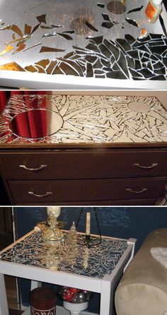 Decorate your old piece of furniture with broken mirror and make it look new…
