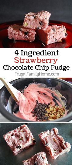 Easy Strawberry fudge recipe ~ This recipe for fudge only takes 4 ingredients and a few minutes to make. Make a batch to give as a Christmas gift.