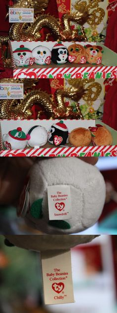 """2012 Ty Baby Beanies Set of 3 Holiday CHEERY MERRY 4/"""" size HAPPY"""