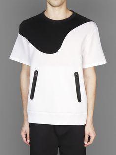 Neil Barrett bi-color double face short sleeved sweatshirt with two zip pockets #neilbarrett