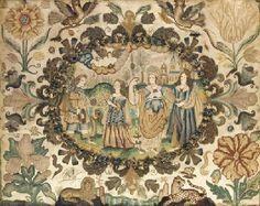 17th century needlework depicting the Judgement of Paris