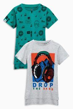 Acheter Lot de deux t-shirts motif écouteurs bleu sarcelle/gris (3-16 ans) disponible en ligne dès aujourd'hui sur Next : France