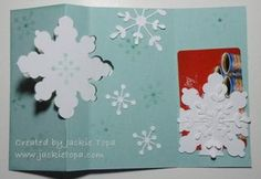 Jackie's clever gift card holder made from a snowflake. Her video shows this and how to cut the large snowflake from the Snowflake Card Thinlits Die. All supplies from Stampin' Up! Flip Cards, Pop Up Cards, Holiday Cards, Christmas Cards, Christmas Ideas, Gift Cards Money, Xmas Theme, Snowflake Cards, Interactive Cards