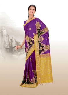 $471.96 Purple Banarasi Silk Saree 19872 With Unstitched Blouse