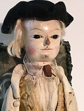 "RARE 1760 George II English Wooden 20"" doll Pupilless Blk Glass Eyes Original"