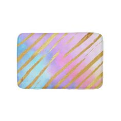 #Pastel Gold Tiger Stripes Bath Mat - #giftideas #teens #giftidea #gifts #gift #teengifts