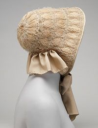 Woman's Bonnet  Made in United States, North and Central America    c. 1855    Artist/maker unknown, American    Woven straw in diamond pattern (reproduction lining, trimming, and ties)  10 x 9 inches (25.4 x 22.9 cm)