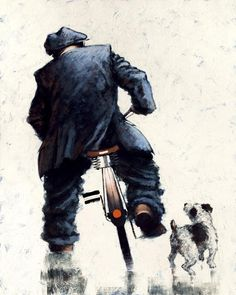 """""""Push Bike and Dog"""" by Alexander Millar Norman Cornish, West Coast Scotland, Push Bikes, Impressionist Artists, Bicycle Art, Sculpture, Contemporary Artists, Lovers Art, Simple"""