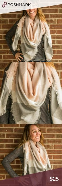 Pale Peach Pink Gray Oversized Soft Blanket Scarf Pale Peach Pink White Gray Oversized Super Soft Blanket Scarf  Wrap yourself up with this cozy, unbelievably soft blanket scarf. Super flattering neutral colors! Highest quality acrylic fabric. Accessories Scarves & Wraps