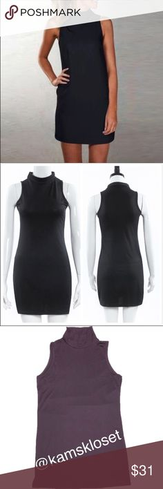 """Little Black Turtleneck Mini Dress his """"Little Black Dress"""" will be perfect for any occasion! Sexy and sleeveless. Turtleneck collar. Would be absolutely elegant to pair with a draped cardigan and statement necklace. Made of 95%  Polyester and 5% Spandex. Super soft and comfortable. Sizing for XL; Bust: 96"""" and Length: 85"""". Bundle and Save! Dresses Mini"""
