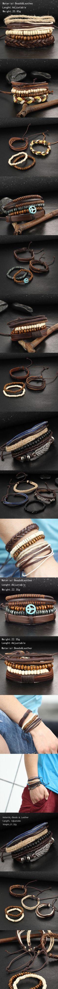 1Set Multilayer Leather Bracelet Men Jewelry Punk Rock Wood Bead Bracelets For Men Love Vintage Bracelets & Bangles Gift Retro