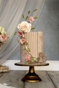 Gentle beauty - cake by Lorna - CakesDecor Elegant Birthday Cakes, Beautiful Birthday Cakes, Elegant Wedding Cakes, Elegant Cakes, Beautiful Wedding Cakes, Gorgeous Cakes, Wedding Cake Designs, Pretty Cakes, Formation Patisserie