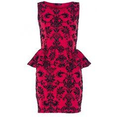 Red And Black Glitter Peplum Dress ($33) ❤ liked on Polyvore featuring dresses, vestidos, платья, red and black dress, glitter dress, red and black peplum dress and peplum dress