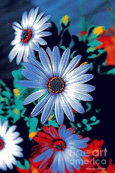 Closeup of African Daisies with a dithered dot pattern. The bold graphic was created from an original photograph taken in 2012 of the flowers growing in my garden. Art Photography, Floral Design, Wall Art, Floral Artwork, Floral Art, Fine Art America, Graphic Design, Art, Original Art
