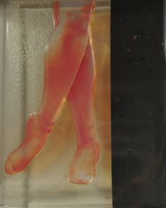 "legs. 9""x12"". Multi process fused glass drawing. ©Linda Humphrey / KilnForms."