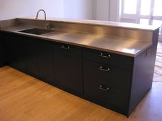 Stainless Steel Bench Worktop With A Custom Built Sink And Drainer,  Designed To The Customeru0027s