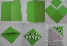 Easy Crafts, Kids Crafts, Diy And Crafts, Arts And Crafts, Paper Crafts Origami, Diy Paper, Paper Crafting, Monster Bookmark, Little Free Libraries