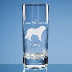 Bernese Mountain Dog Highball Glass, Engraved Glass, Personalised Gift, Bernese Mountain Dog Gift for Dog Lover, Dog Lover Gift, Dog Glass
