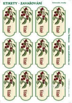 Samolepicí etikety, zavařování višně Advent Calendar, Holiday Decor, Printables, Drink, Cooking, Kitchen, Home Decor, Food, Beverage