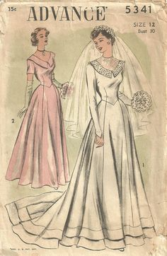Advance 5341 Vintage 40s Sewing Pattern Bridal by studioGpatterns, $28.50