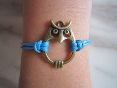 Bracelet / Vintage Night Owl Bracelet / Blue Wax Cords by LDnest, $2.99