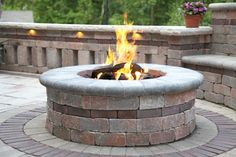 Unilock Patio with a Brussels Dimensional Fire Pit