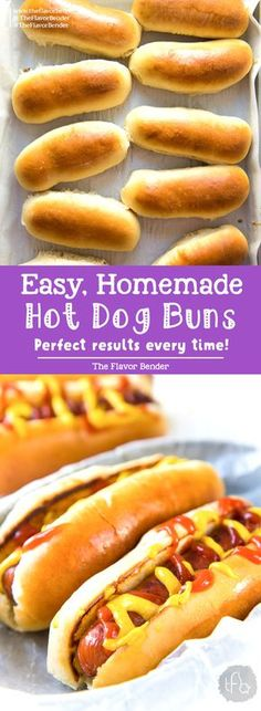 These Easy to make Homemade Hot Dog Buns, are perfectly soft and delicious! This dough is versatile enough to be hot dog buns, subs, or hamburger buns, and absolutely easy to make! #HotDogBuns #BurgerBuns #EasyBreadDough #SummerRecipes via @theflavorbender