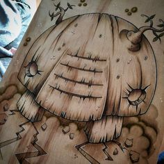 Hand drawn wood ent on wood czee13