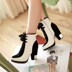 Women's Shoes Chunky Heel Fashion Boots/Round Toe Boots Dress Black/White – USD $ 44.99