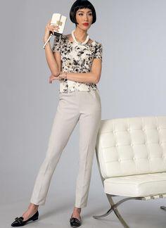 V9189   Vogue Patterns Cigarette pants... use silk with spandex blend or cotton spandex blend. Pre-wash fabric.