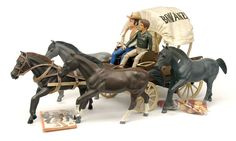 "Palitoy ""Bonanza"" 4 in 1 Wagon Toy Set No.4031, with poseable figures of Hoss (Don Blocker) and Little Joe (Michael Landon)"
