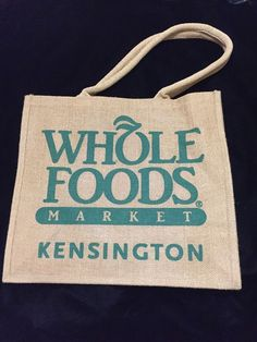 Whole Foods Kensington Tote Bag London Jute Tan Handles Burlap Recycle New Uk Wholefoods
