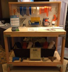 We transformed our heavy duty workbench into a customized crafting table. Diy Workbench, Shelving, Projects To Try, Work Benches, Woodworking, Strong, Entertaining, How To Plan, Crafting
