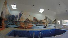 художественная роспись стен в басейне,аэрография,мастер класс,