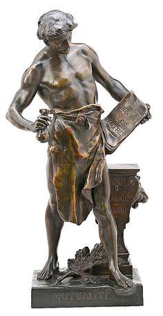 """Émile Louis Picault París 1833 - 1915 Homenaje a la Mutualité française Escultura en bronce de pátina """"médaille"""""""